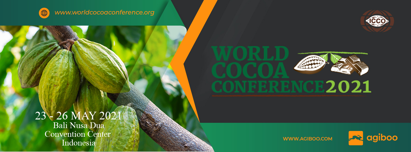 World Cocoa Conference 2021 banner cocoa beans