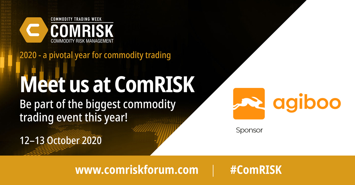 Comrisk sponsor banner Agiboo virtual event about commodity trading