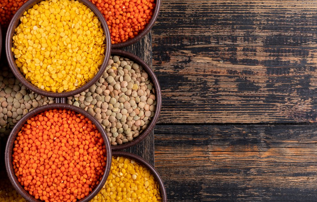 Lentils yellow green red